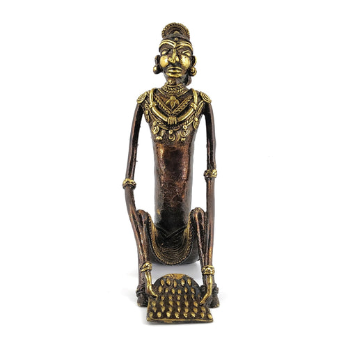 Brass Metal Ornamented Tribal Woman Sculpture, Bastar Art, Dhokra Art, Front view