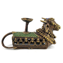 Load image into Gallery viewer, Nandi Candle or Tealight Holder, made in brass metal in Dhokra Art, Bastar Art, Multicolor, Side View