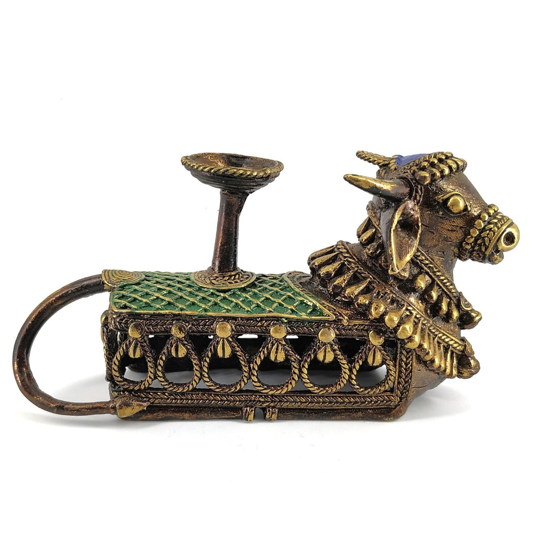 Nandi Candle or Tealight Holder, made in brass metal in Dhokra Art, Bastar Art, Multicolor, Side View