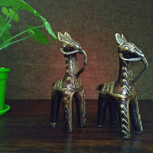 Load image into Gallery viewer, Brass Metal Bankura Horse Pair made in Bastar Art, Dhokra Art, golden brown color, side view