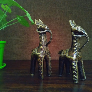 Brass Metal Bankura Horse Pair made in Bastar Art, Dhokra Art, golden brown color, side view