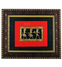 Load image into Gallery viewer, Bastar Art Brass Metal Tribal Desgin wall frame, front view