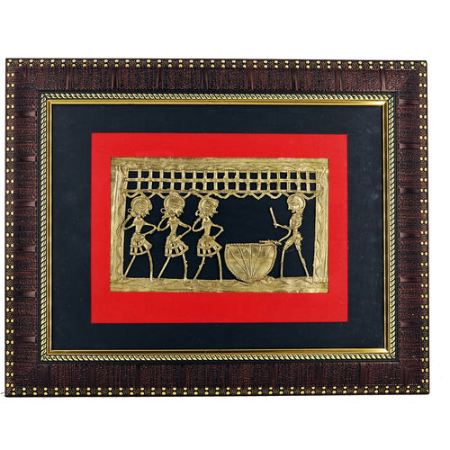 Tribal Brass Metal Art encased in a frame, Bastar Art Wall Frame, Front view