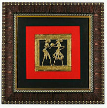 Load image into Gallery viewer, Bastar Art Brass Metal Two figure Design encased in a wall frame, front view