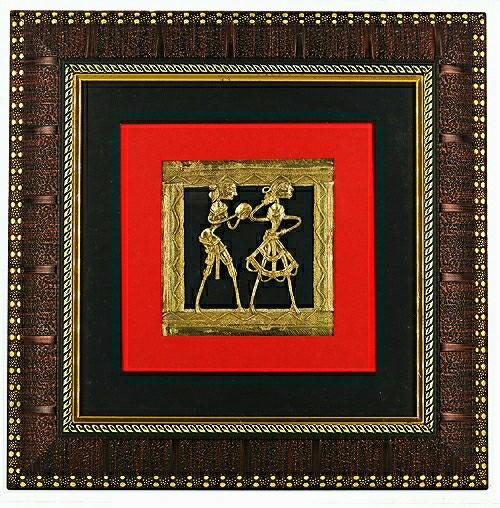 Bastar Art Brass Metal Two figure Design encased in a wall frame, front view