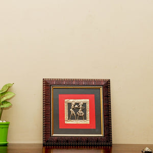 Bastar Art Brass Metal Two figure Design encased in a wall frame, front view 2