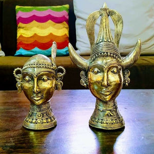 Brass Metal Tribal Statues handcrafted in Bastar Art , Dhokra Art