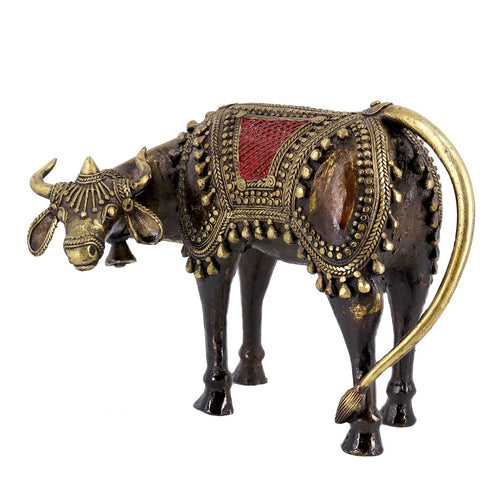 Indian Cow handcrafted in brass metal in Bastar Art, Dhokra Art, multicolor, side view