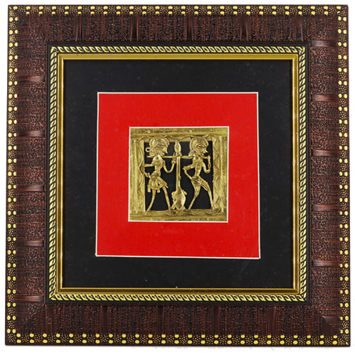 Bastar Art Tribal Figurines Encased in A wall Frame, Dhokra Art, Front View