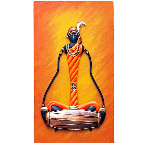 Colorful wrought iron design with MDF frame, Bastar Art, Dhokra Art, Front view