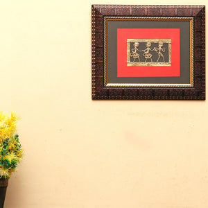 Bastar Art Brass Metal Tribal Desgin wall frame, front view 2