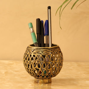 Round Designer Brass Metal Pen Holder made in Dhokra Art, Bastar Art, front view with pens