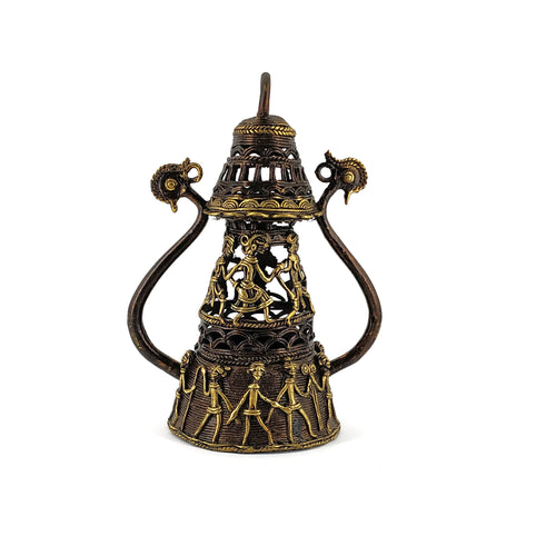 Decorative Antiquated Brass Metal Tribal Art Lamp Holder, Golden Brown color, made in Dhokra Art, Bastar Art, front view