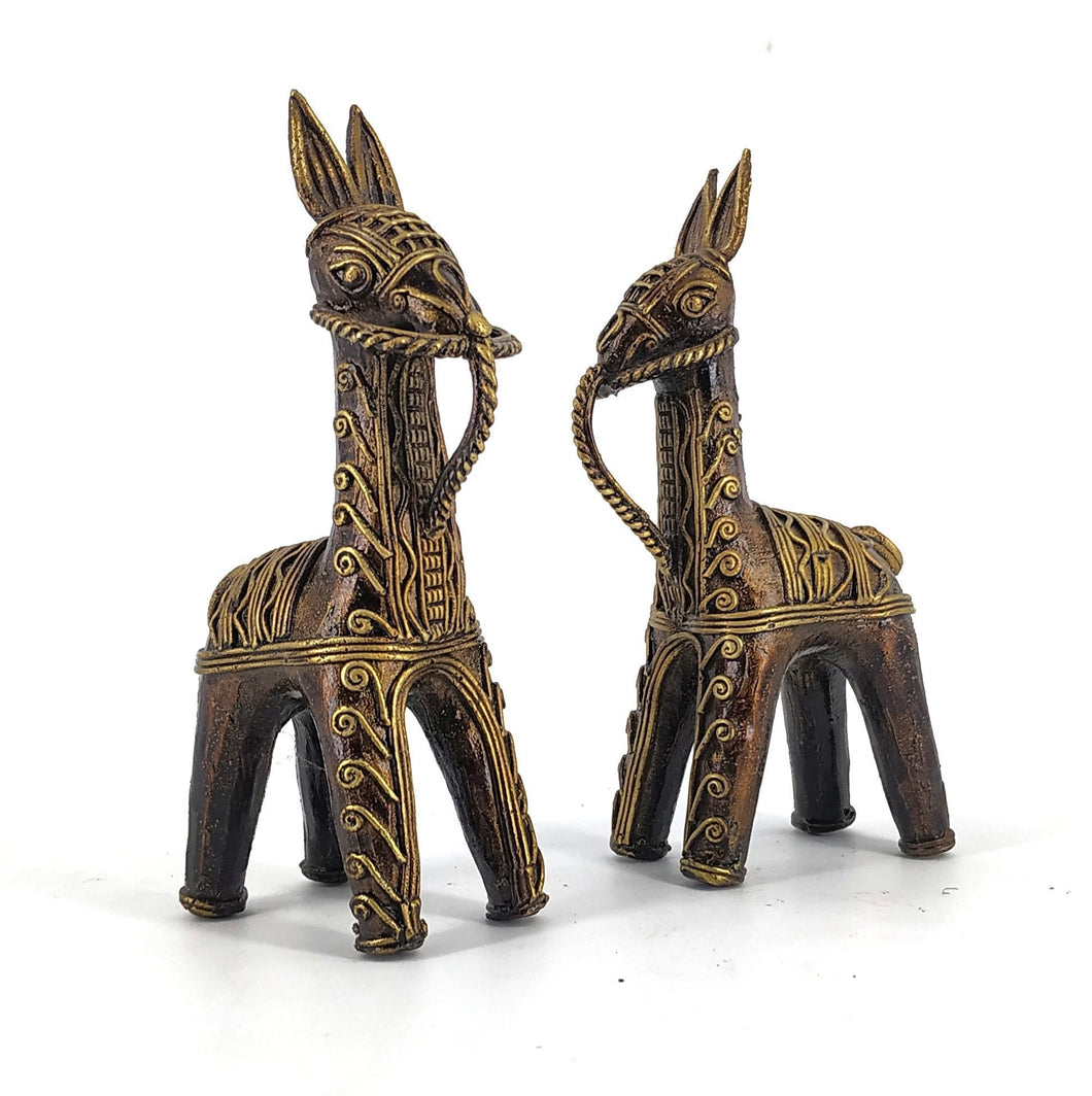 Brass Metal Bankura Horse Pair made in Bastar Art, Dhokra Art, golden brown color, front view
