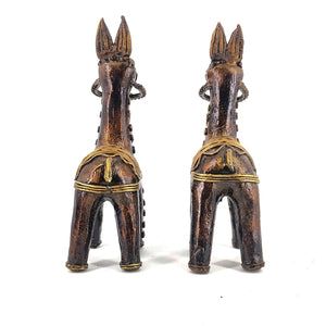 Brass Metal Bankura Horse Pair made in Bastar Art, Dhokra Art, golden brown color, back view