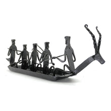 Load image into Gallery viewer, Bastar Art 5 people Boat made in wrought iron metal by Shambhavi Creations. Side view.