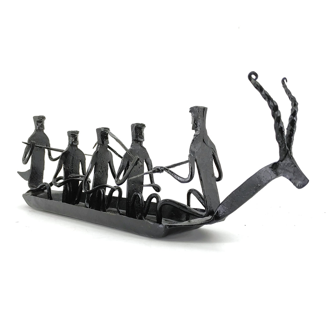 Bastar Art 5 people Boat made in wrought iron metal by Shambhavi Creations. Side view.