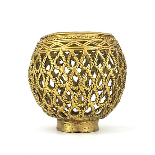 Round Designer Brass Metal Pen Holder made in Dhokra Art, Bastar Art, front view