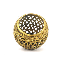 Load image into Gallery viewer, Round Designer Brass Metal Pen Holder made in Dhokra Art, Bastar Art, tilted top view