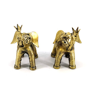 Bastar Art Elephant Duo made in Brass Metal in Bastar Art, Dhokra Art, Dull Gold color, front view