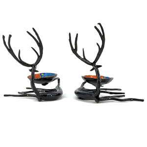 Reindeer Shaped Bastar Art Wrought Iron candle holders.