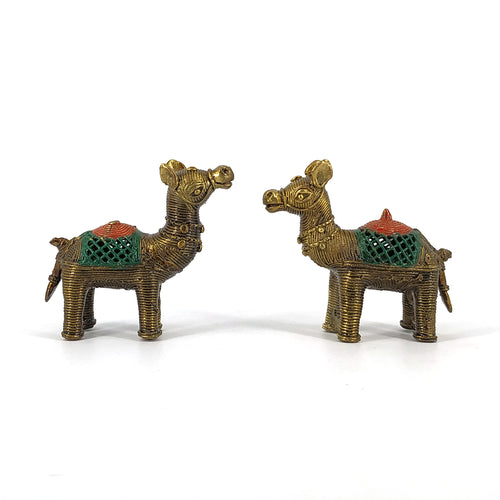 Bastar Art, Dhokra Art camel pair made in Brass metal. Side view
