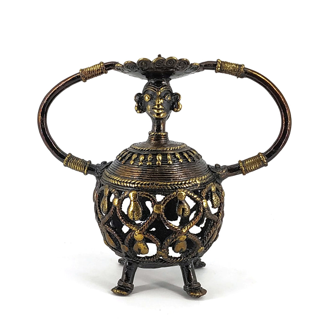 dhokra art brass candle holder