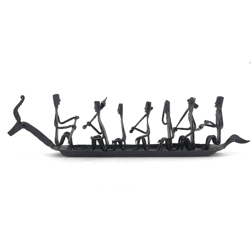 Bastar Art 7 people Boat made in wrought iron metal by Shambhavi Creations