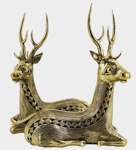 deer pair statue handmade in brass dhokra art