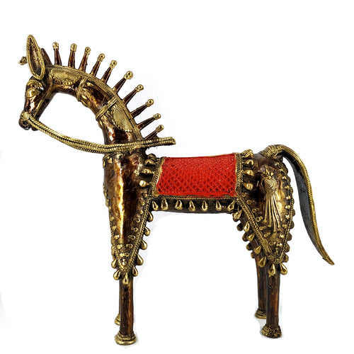 Dhokra (Dokra) Art Horse statue handcrafted using bell metla art of chhattisgarh