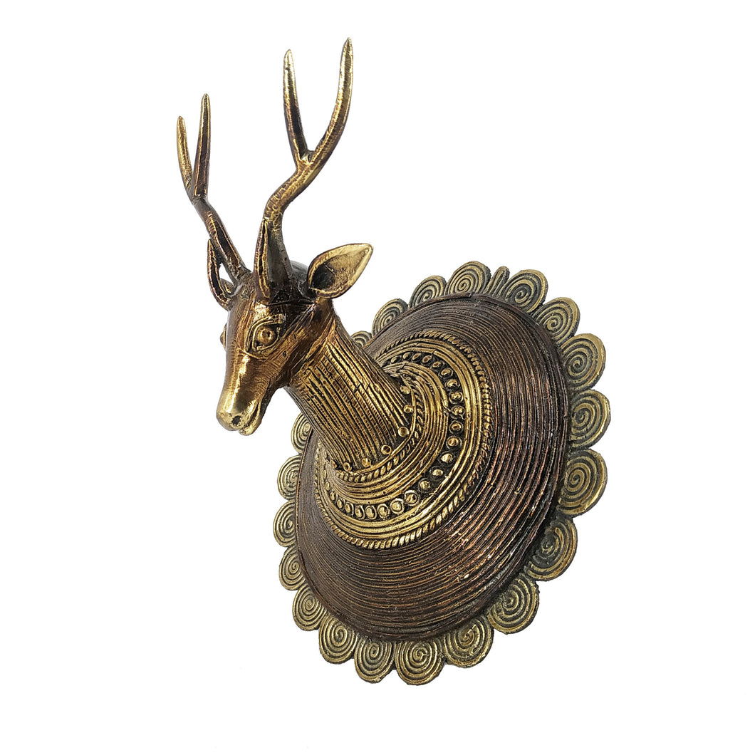 dhokra deer head wall decor
