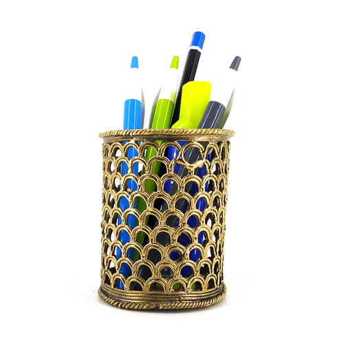 dhokra brass pen holder