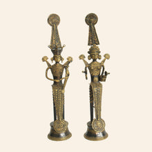 Load image into Gallery viewer, Jhitku Mitki, Brass Metal Statuettes handmade in Bastar Art, Dhokra Art.