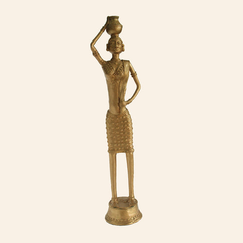 Tribal Madia Woman statue doing her daily chores. Handmade using brass metal. bastar art, dhokra art.