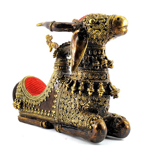 Nandi Bull Metal Statue with a throne
