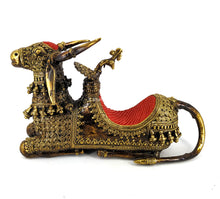 Load image into Gallery viewer, Nandi Bull Metal Statue with a throne