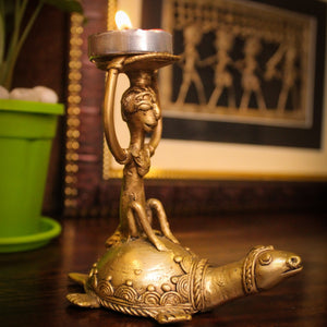 Monkey Turtle Candle and Tealight Holder, brass metal artefact made in bastar art, dhokra art, matte yellow color, side view with tealight