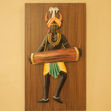 Load image into Gallery viewer, Tribal Man Playing Dholak, made in Wrought Iron and MDF, Bastar Art, color- multicolor, front view 2