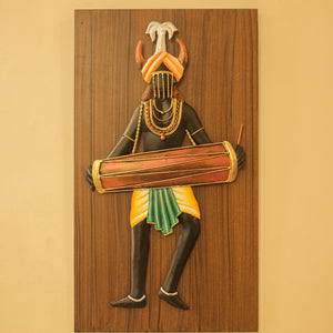 Tribal Man Playing Dholak, made in Wrought Iron and MDF, Bastar Art, color- multicolor, front view 2