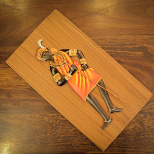 Tribal Woman With Bamboo Stick made in Bastar Wrought Iron Craft with MDF, Multicolor, Front View with Flat Surface