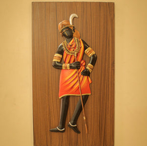 Tribal Woman With Bamboo Stick made in Bastar Wrought Iron Craft with MDF, Multicolor, Front View with Walls