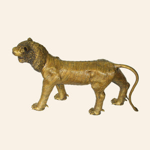 Bastar Tiger, Lion handcrafted using brass metal in bastar art, dhokra art. side view.