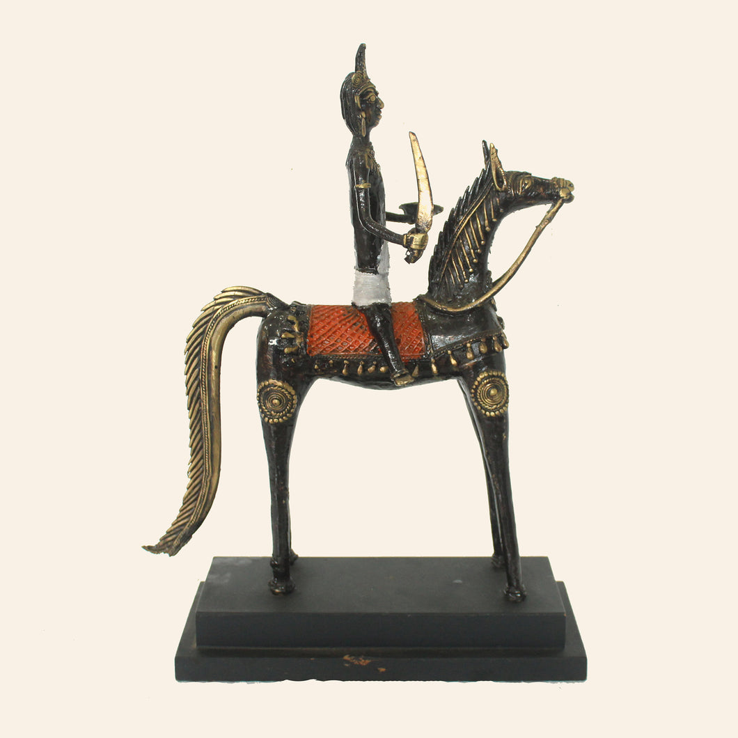 Man on horse statue handcrafted using brass metal in bastar art, dhokra art.