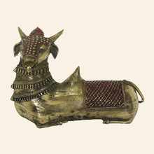 Load image into Gallery viewer, Bull Nandi statue in sitting position. handcrafted in bastar art, dhokra art.