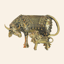 Load image into Gallery viewer, Elegant brass figurine of Loving Cow with calf