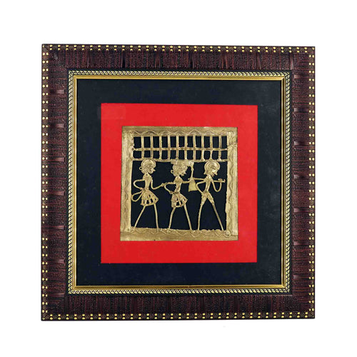 Tribal Dance Square Design Wall Frame