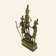 Load image into Gallery viewer, Bastar Art Tribal Figurines with Musical Instruments. Brass Metal Handicraft. Dhokra Art. side view.