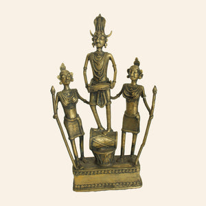Bastar Art Tribal Figurines with Musical Instruments. Brass Metal Handicraft. Dhokra Art.
