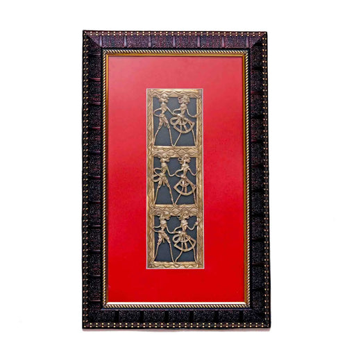 Tribal Long Design Maroon Gold textured  Wall Frame