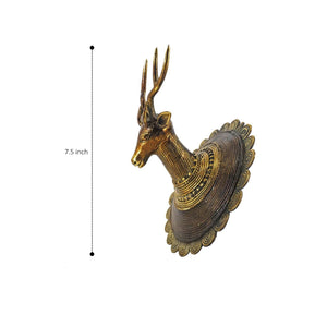 dhokra brass deer head wall hanging